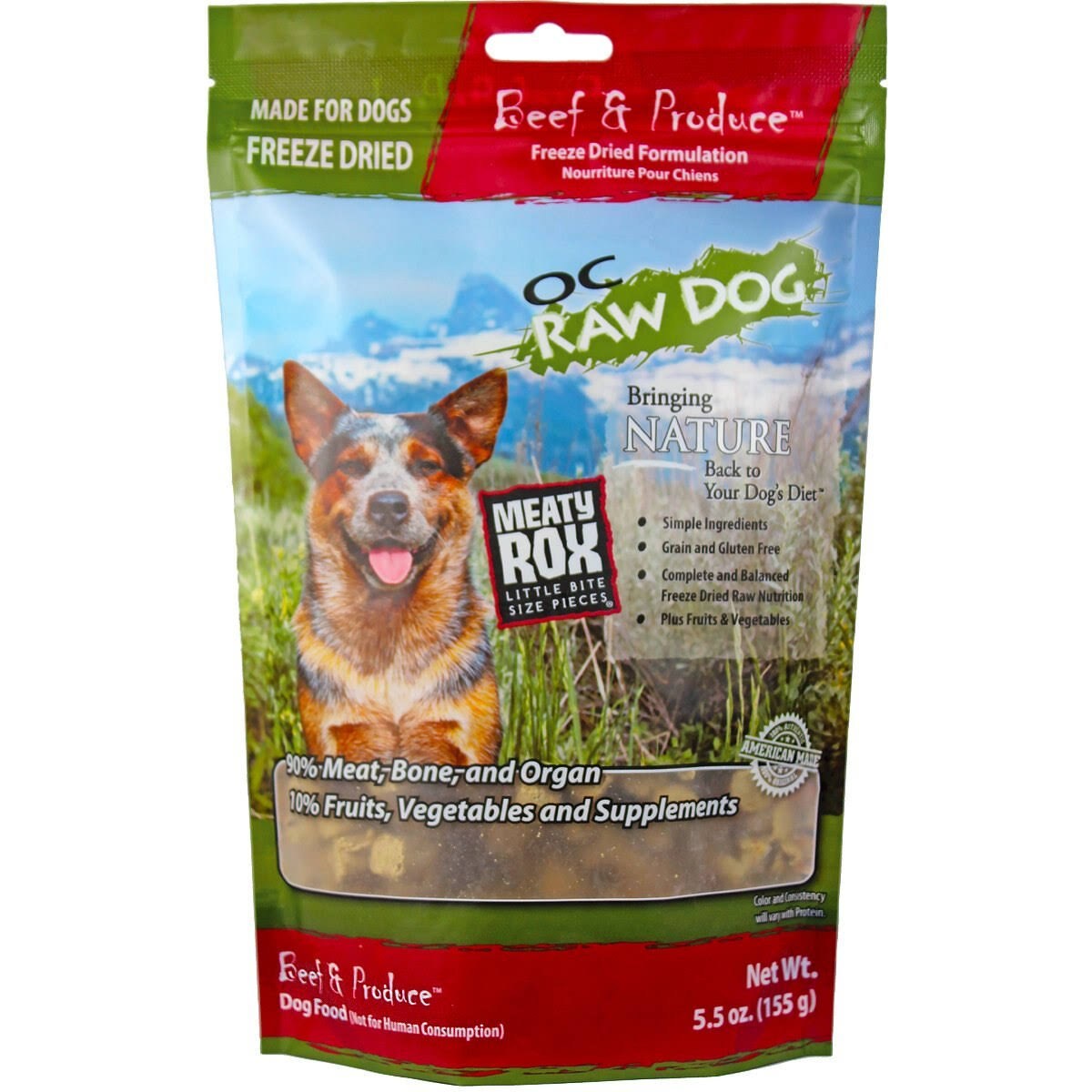 Oc Raw Dog Freeze Dried Meaty Rox Dog Food - Beef, 5.5oz