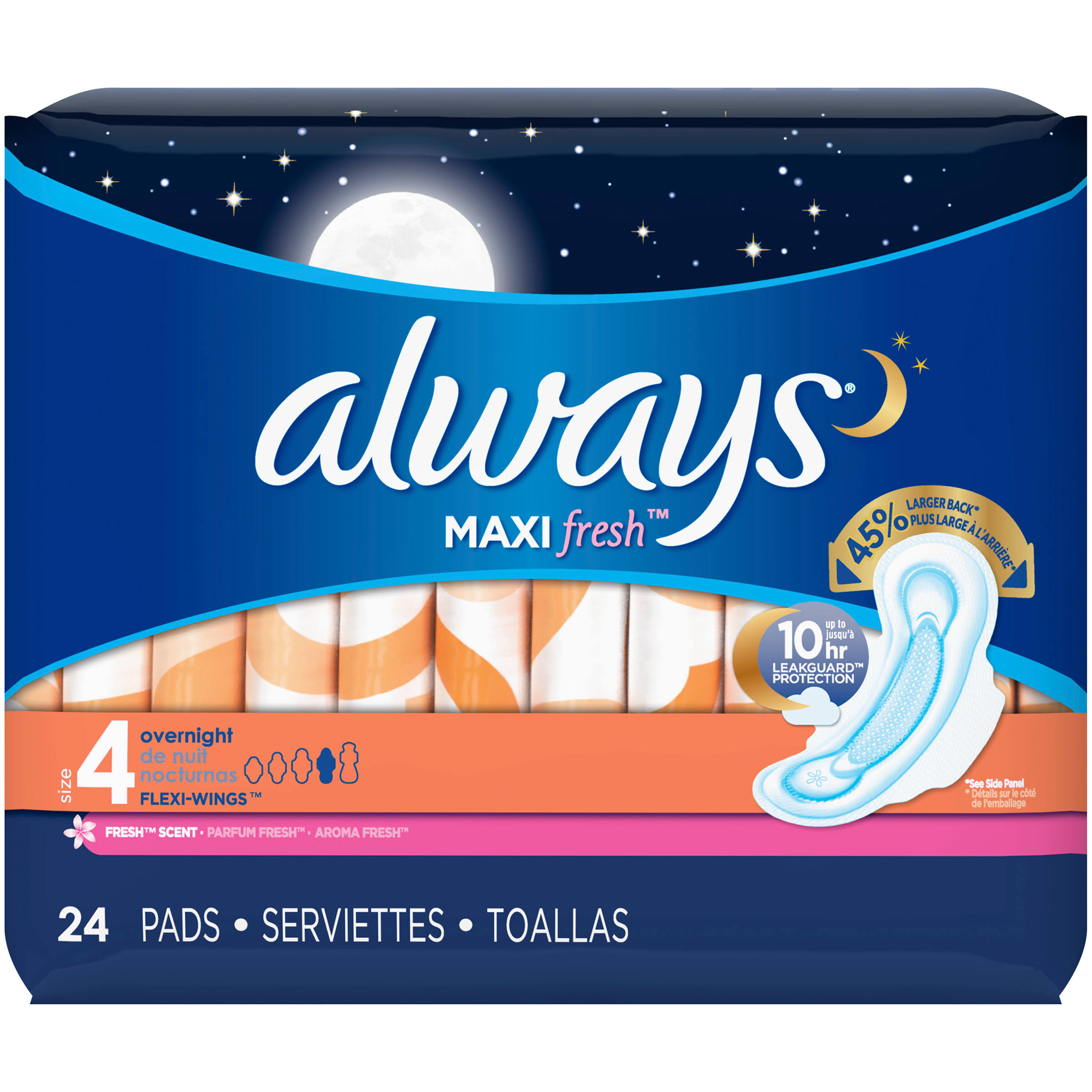 Always Maxi Active Overnight with Wings - 24 Pack