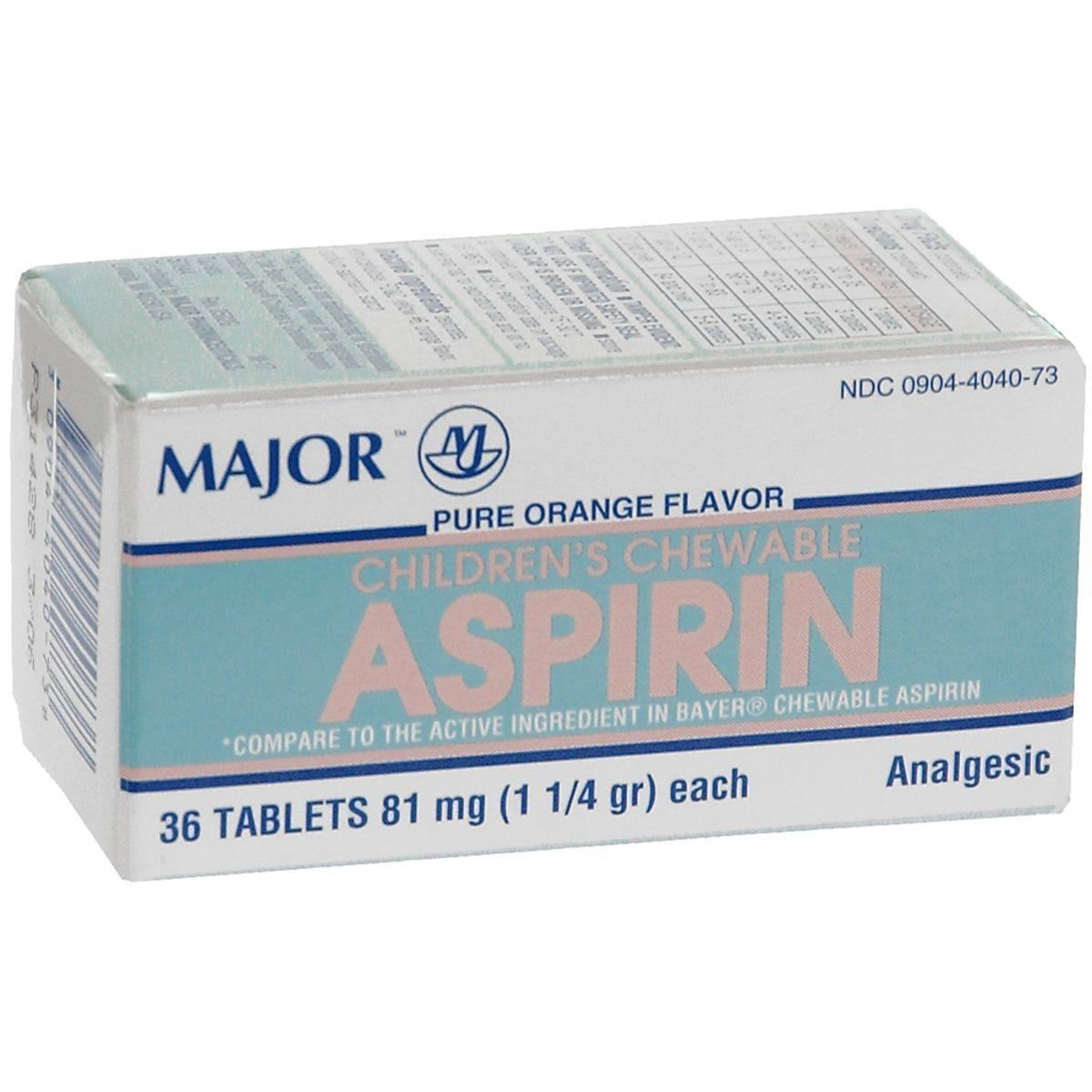 Major Children's Chewable Aspirin Tablets - Orange, 36 Tablets