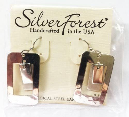 Silver Forest Layered Rectangle Earrings