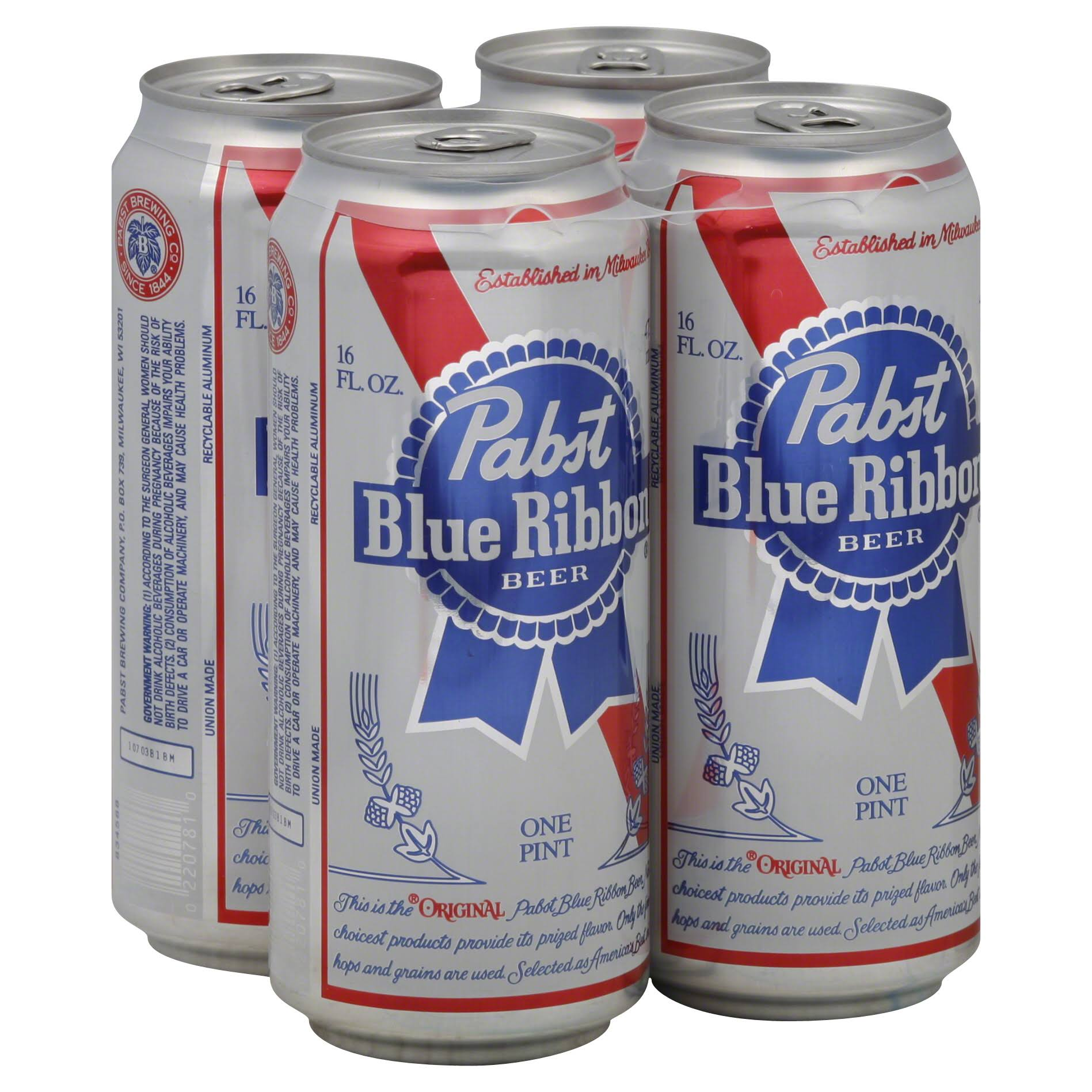 Pabst Blue Ribbon Beers - 4x16oz