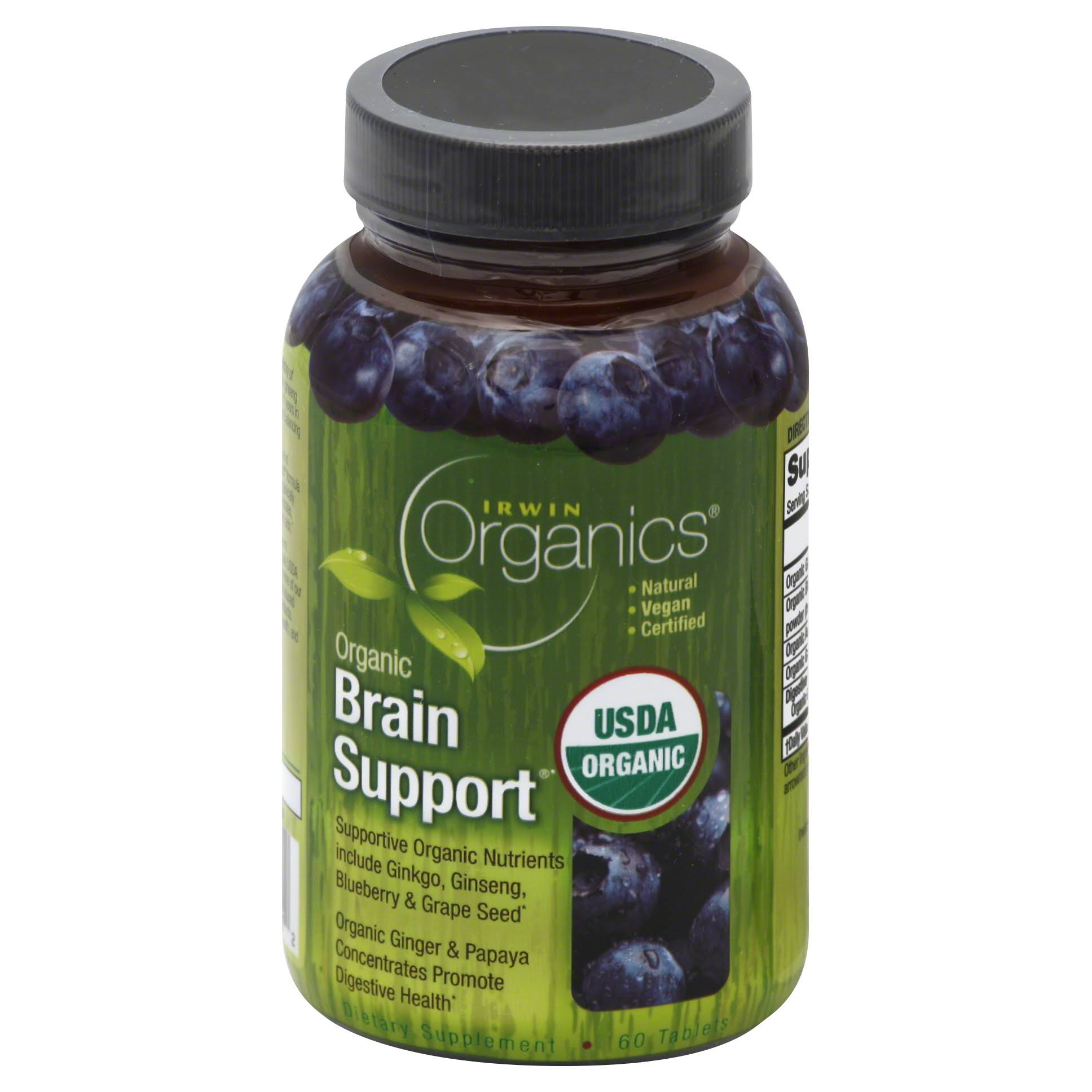 Irwin Organics Organic Brain Support Dietary Supplement - 60 Tablets