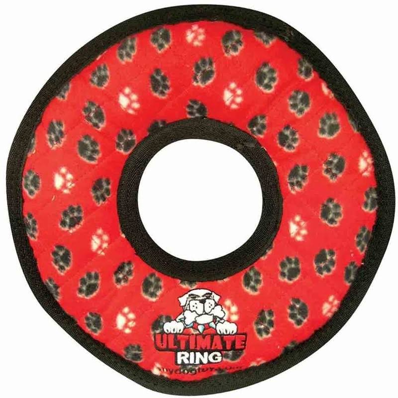 Tuffy Ultimate Ring Dog Toy - Red & Paws