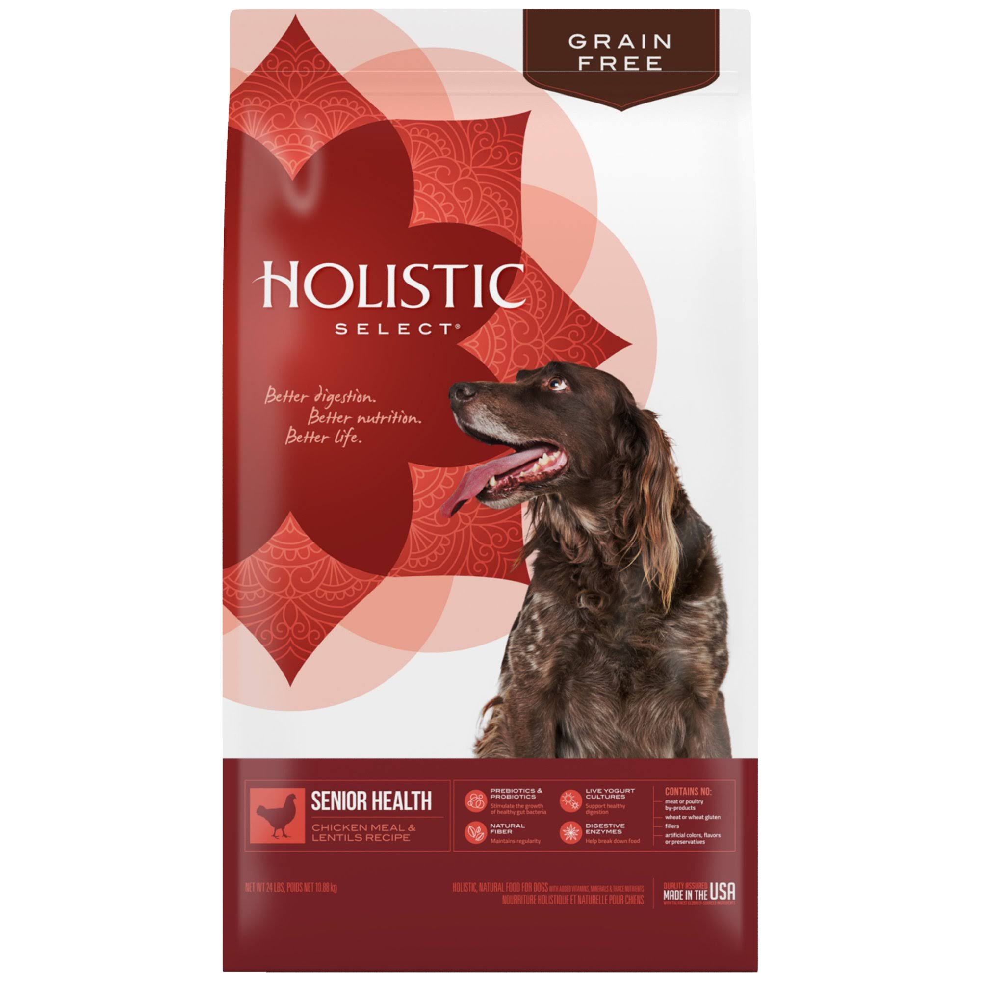 Holistic Select Natural Grain Free Senior Chicken Meal and Lentil Dry Dog Food - 24-lb