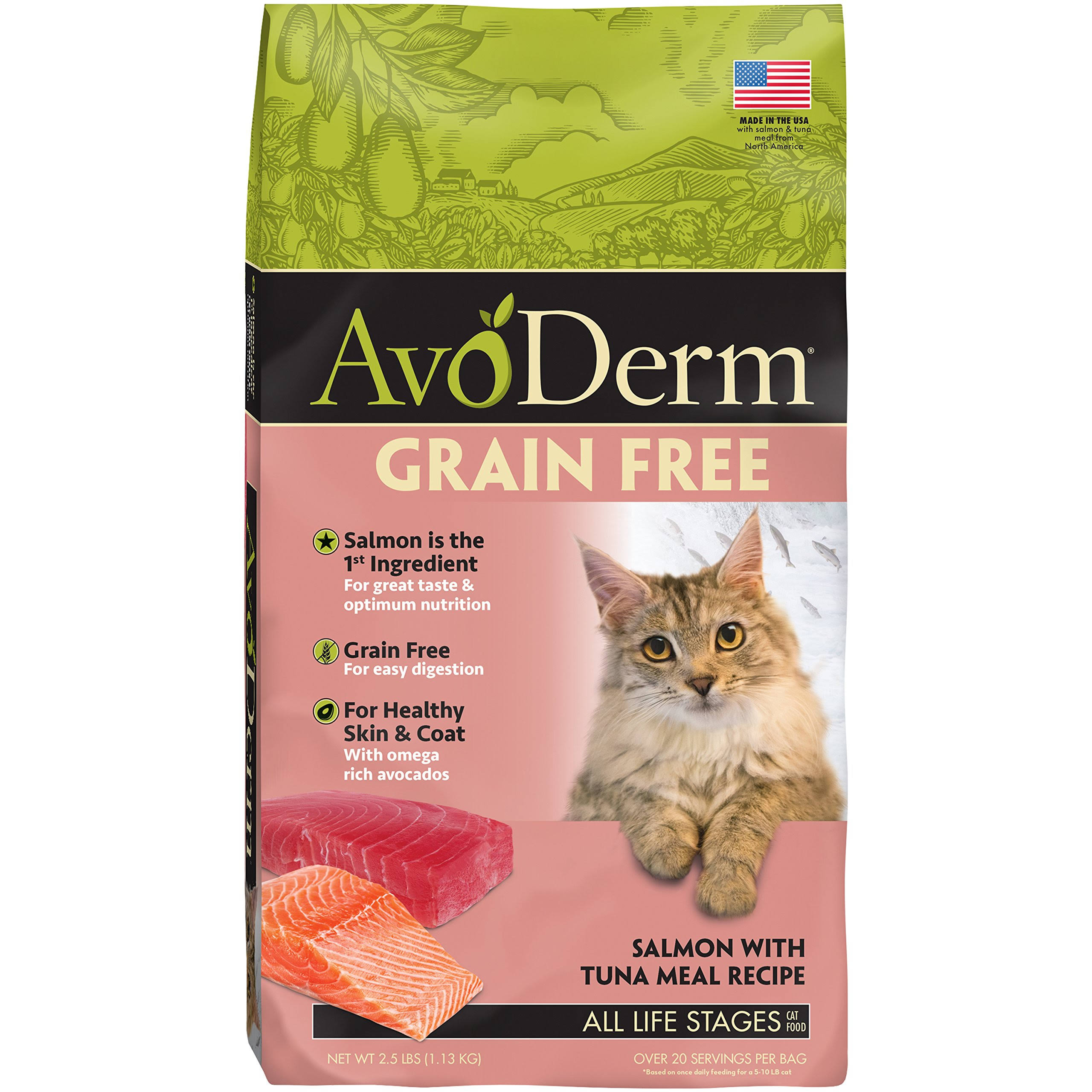 AvoDerm Grain-Free Salmon with Tuna Meal Dry Cat Food, 2.5-lb Bag