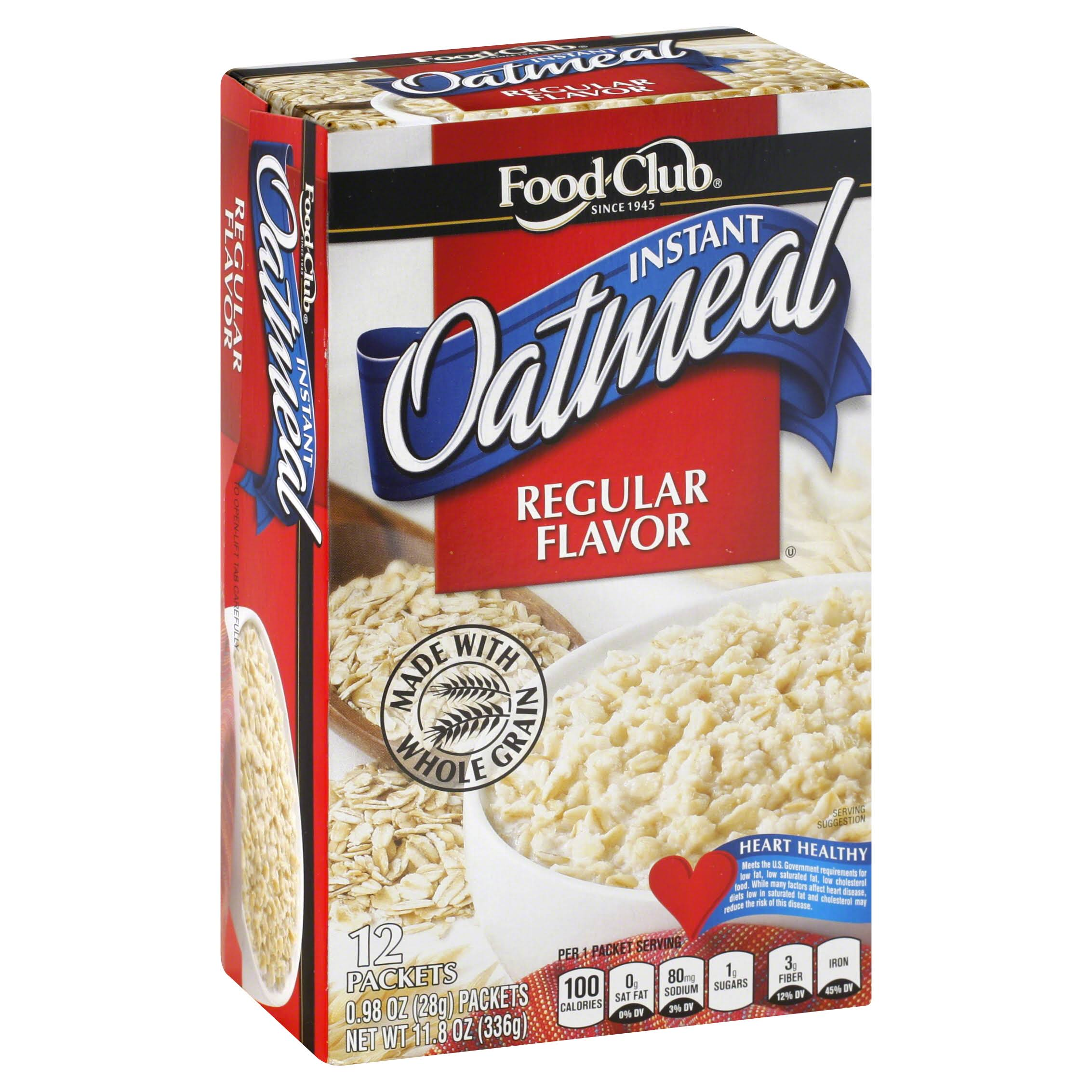 Food Club Oatmeal, Instant, Regular Flavor - 12 pack, 0.98 oz packets