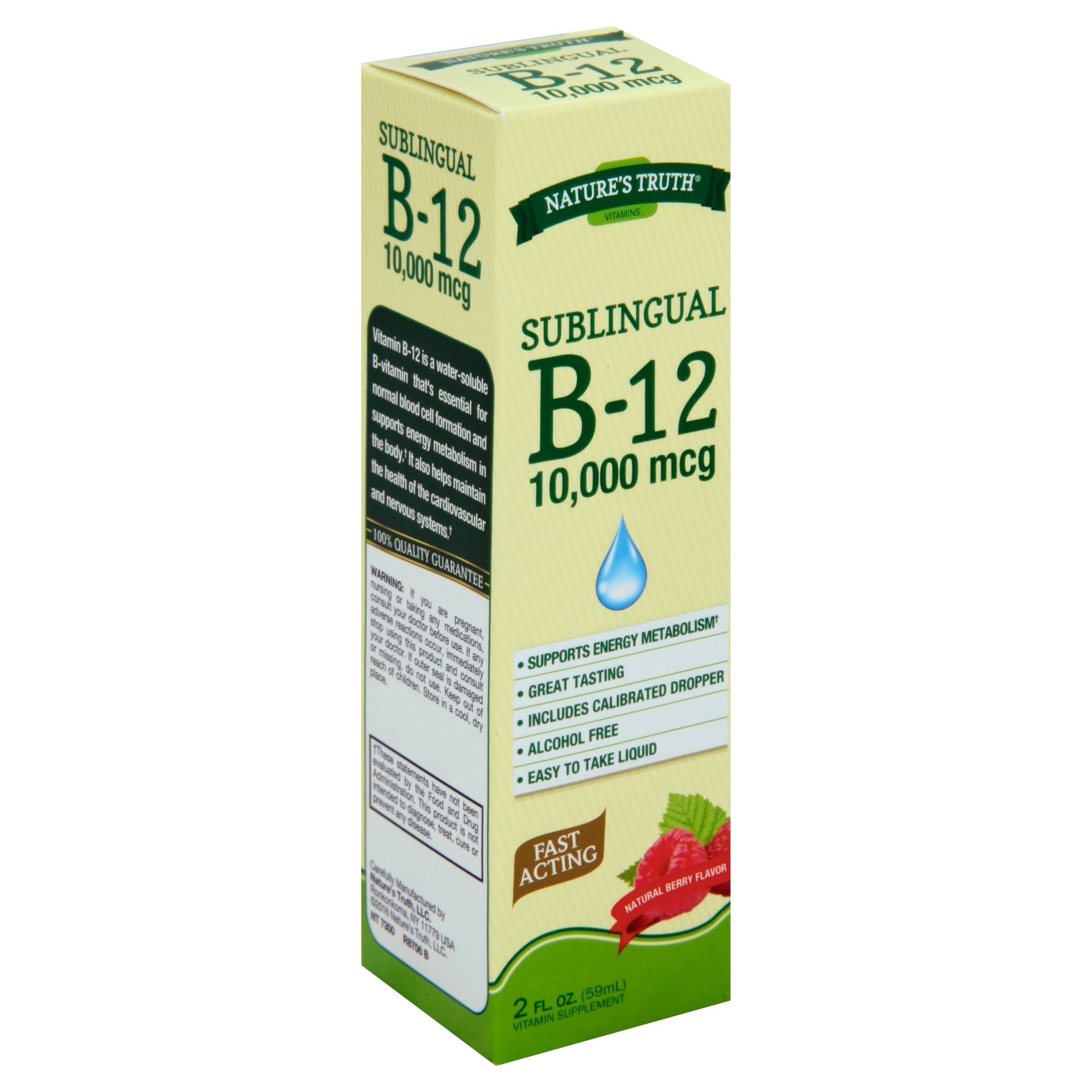 Nature's Truth Sublingual B-12 Vitamin - Fast Acting Liquid, Natural Berry Flavour, 2oz
