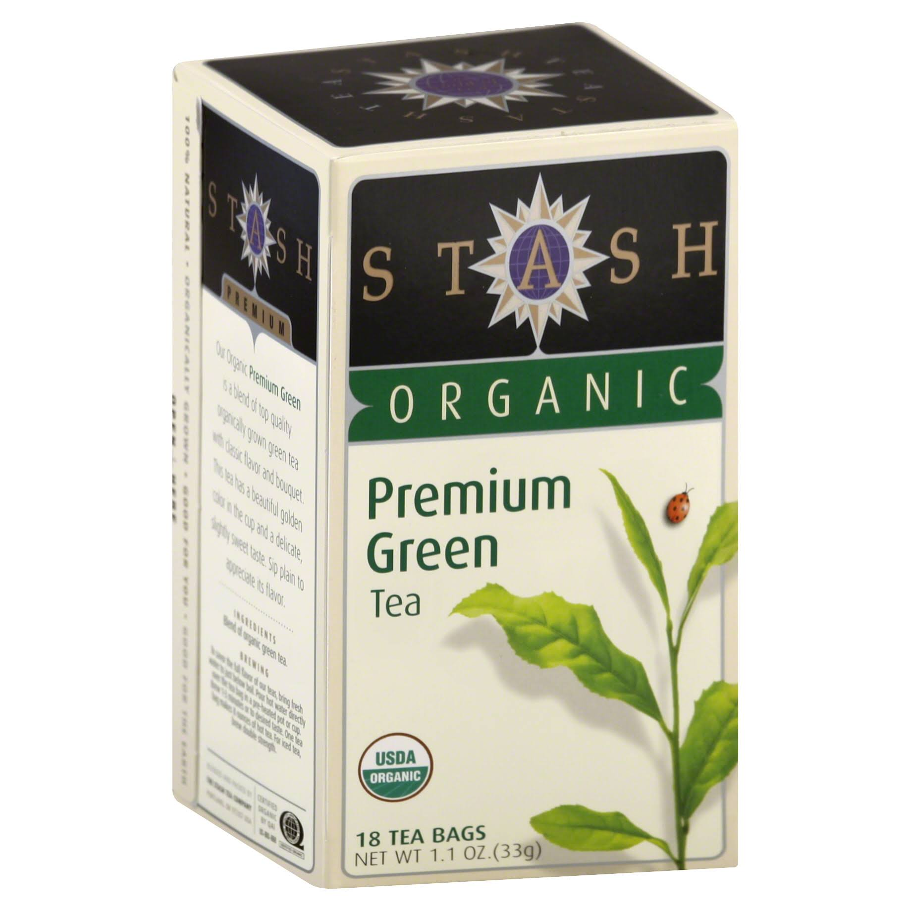 Stash Organic Premium Green Tea - 18 bags, 1.1 oz box