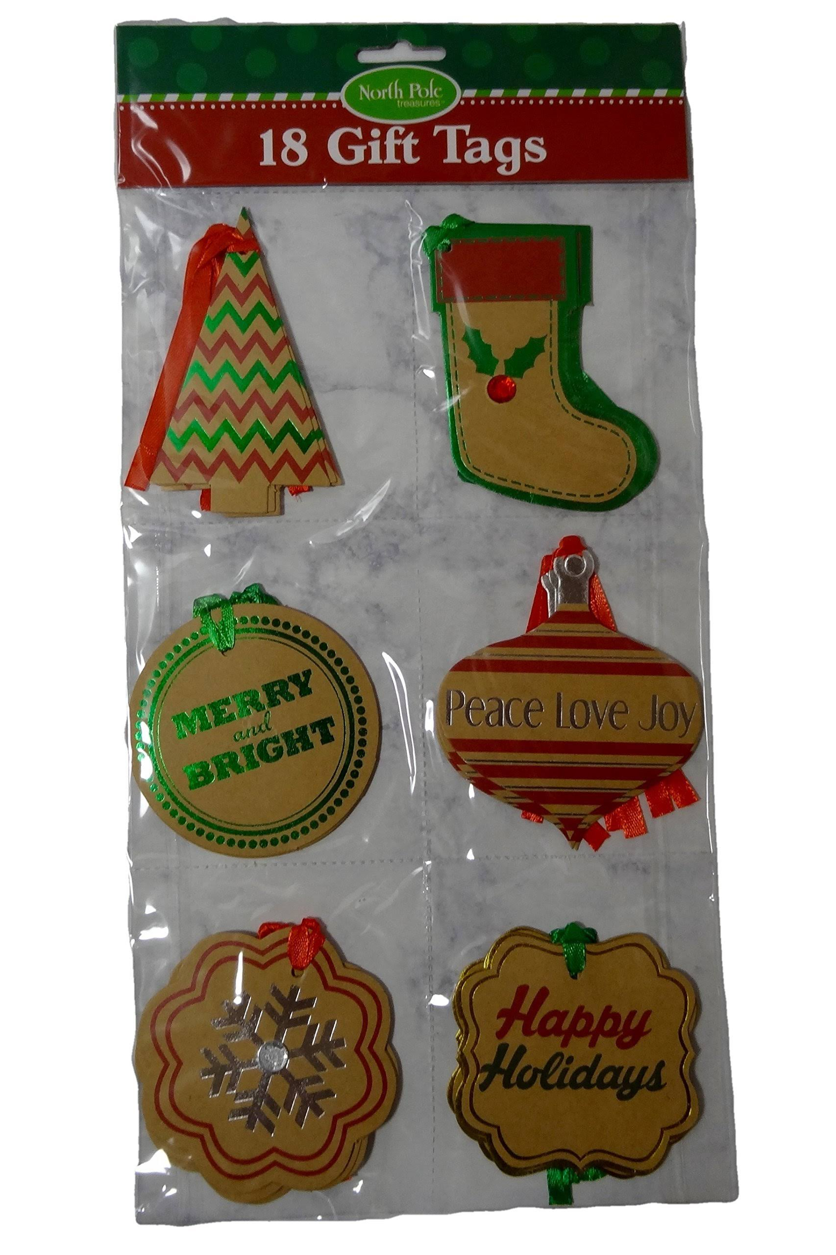 "Large 3.5-4"" Holiday Kraft Gift Tags with Foil Embellishments (18 ct)"