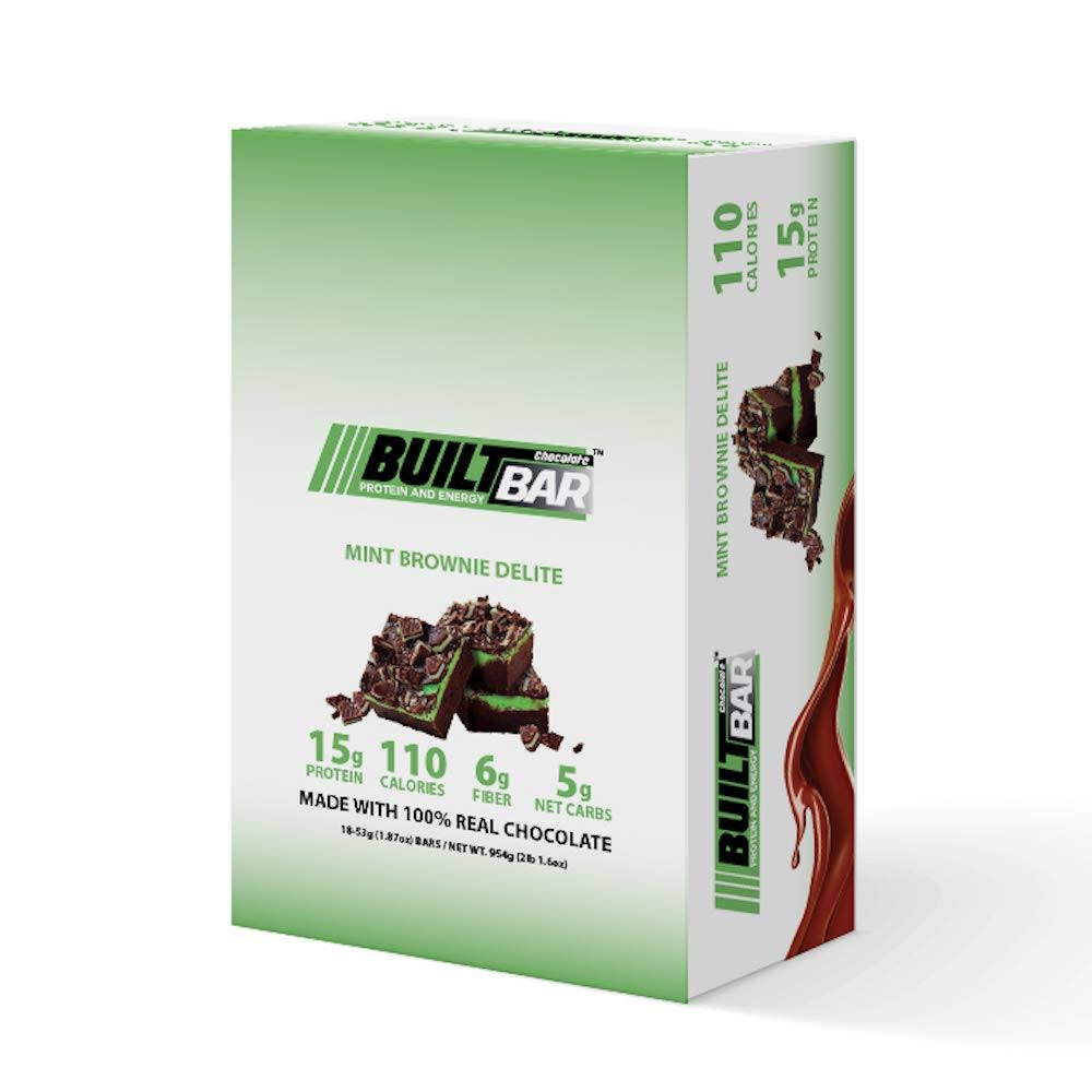 Built Protein and Energy Bar, Mint Brownie Delite, 18 Bars