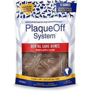 Proden PlaqueOff Bison & Apple Flavor Dental Dog Bones - 17-oz