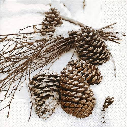 Napkins 33x33 cm - Cones in Snow
