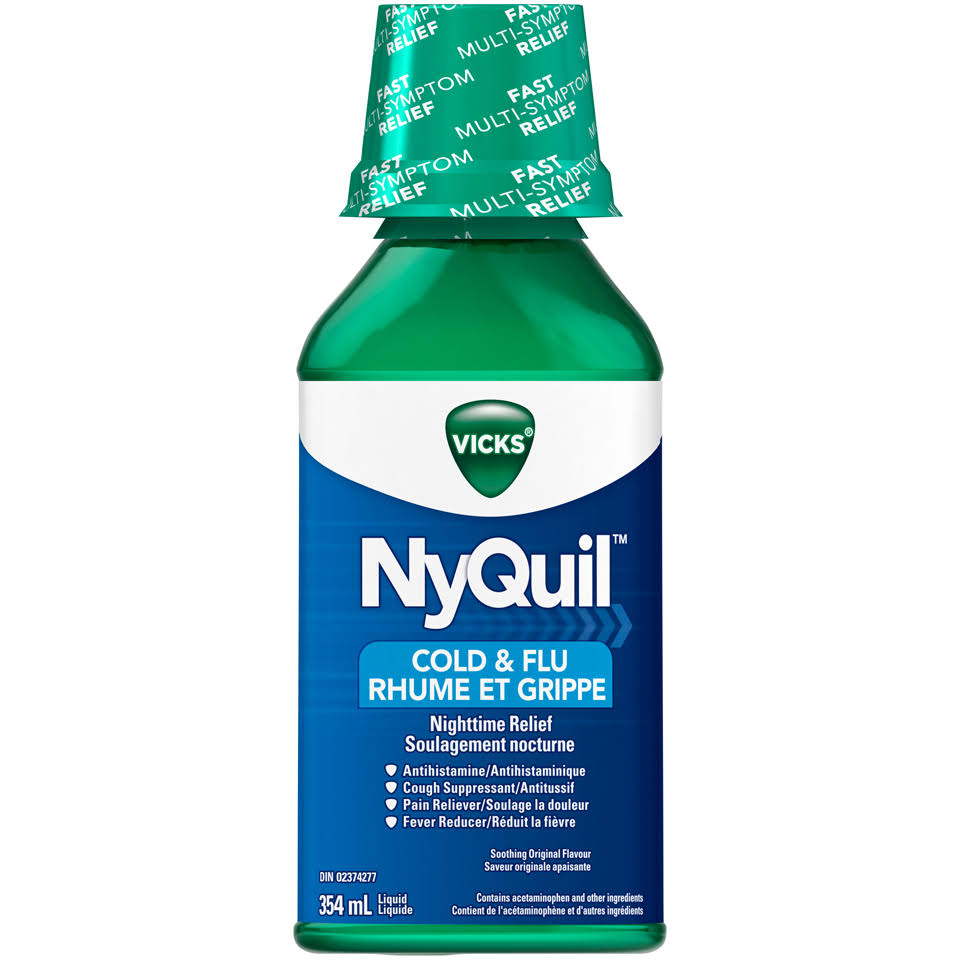 Vicks Nyquil Nighttime Relief Soothing Original Cold & Flu Liquid 354ml Bottle