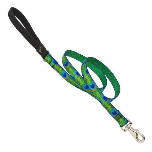 "LupinePet Originals Padded Handle Leash for Medium and Larger Dogs - Tail Feathers, 3/4"" x 6'"
