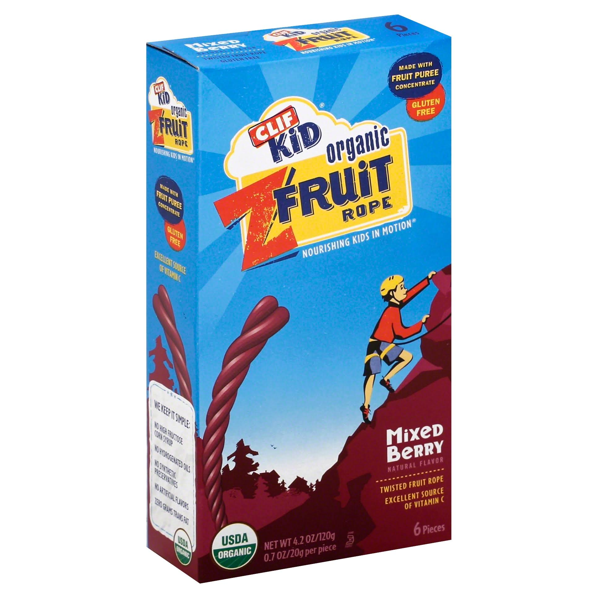 Clif Kid Organic Z Fruit Twisted Fruit Snack - Mixed Berry, 6ct