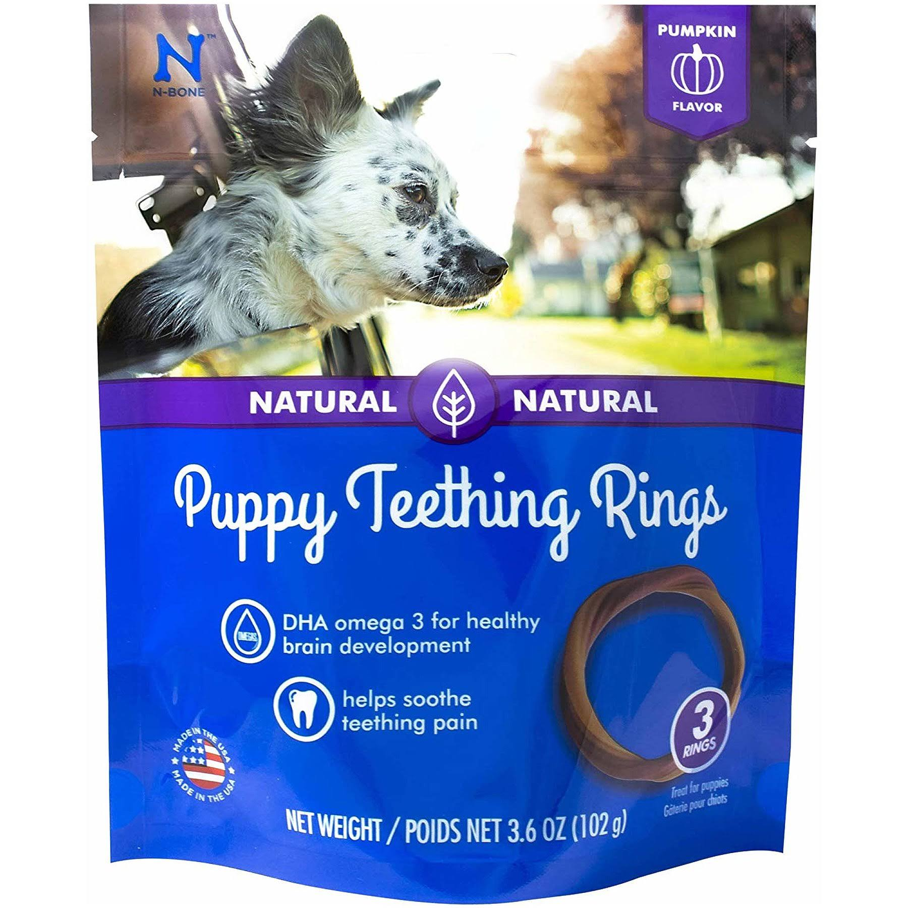 N-Bone Natural Puppy Teething Rings - Pumpkin Flavor, 3ct, 3.6oz