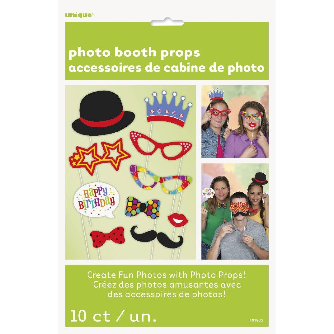 Unique Birthday Photo Booth Props - 10pc