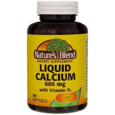 Nature's Blend Liquid Calcium with D3 Supplement - 100 Softgels