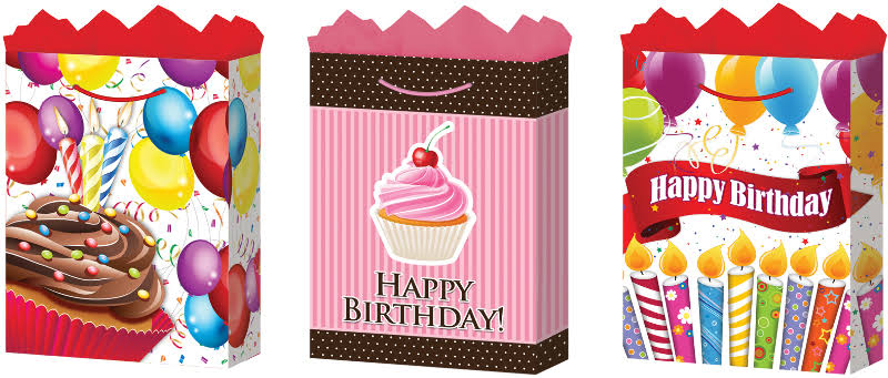 DD Medium Happy Birthday 2 Gift Bags (Gloss) Case Pack 24