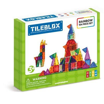 Magformers Tileblox Rainbow Magnetic Construction Set - 104pcs