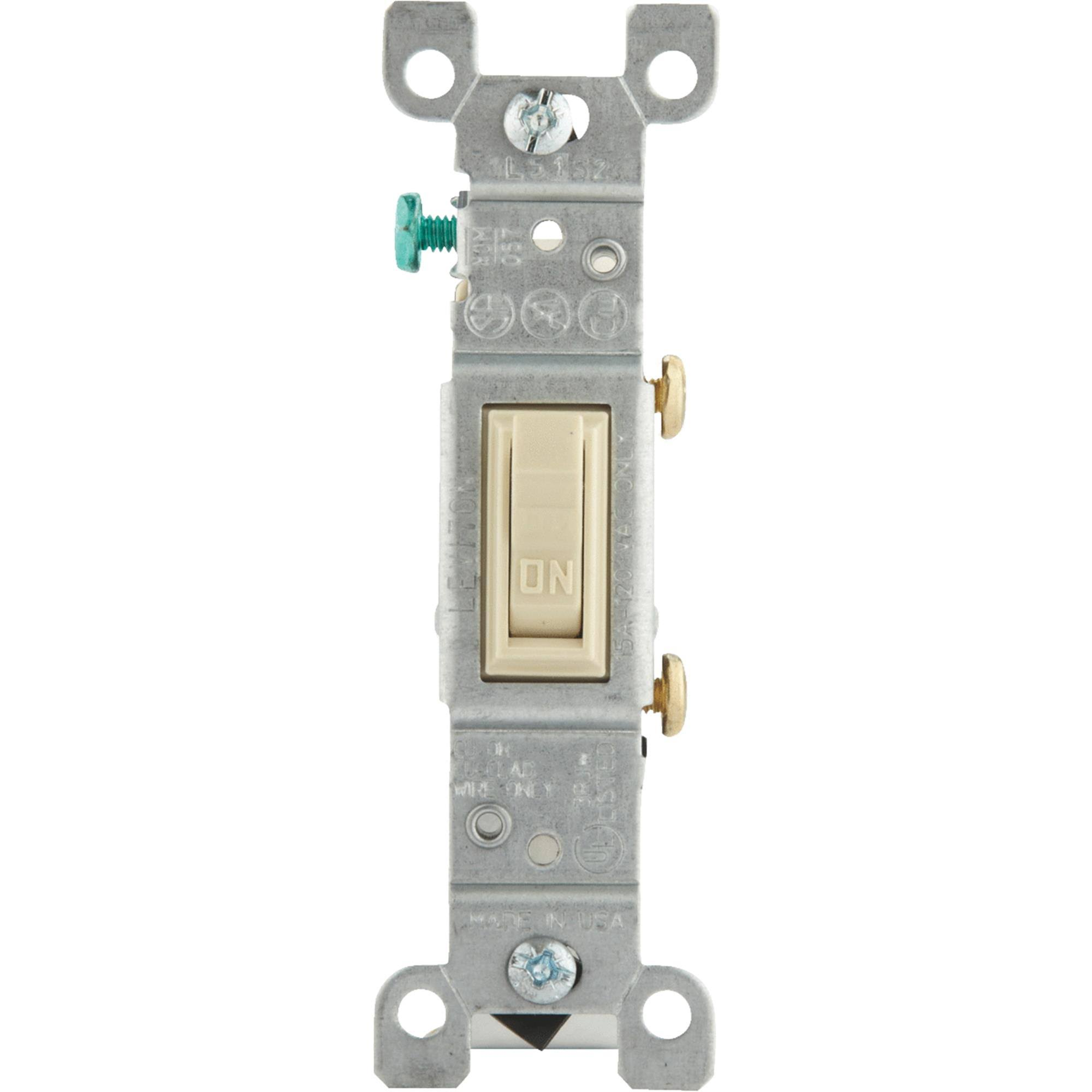 Leviton Single-Pole Toggle Switch - Ivory, 15amp