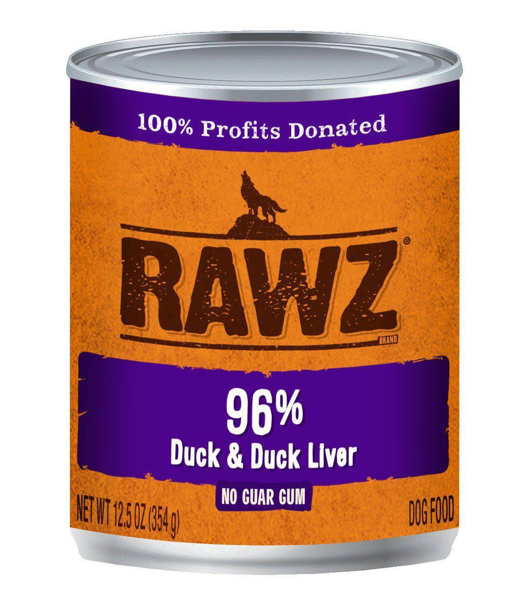 Rawz 96% Duck & Duck Liver Dog Food Can | Tomlinson's Feed 12.5 oz