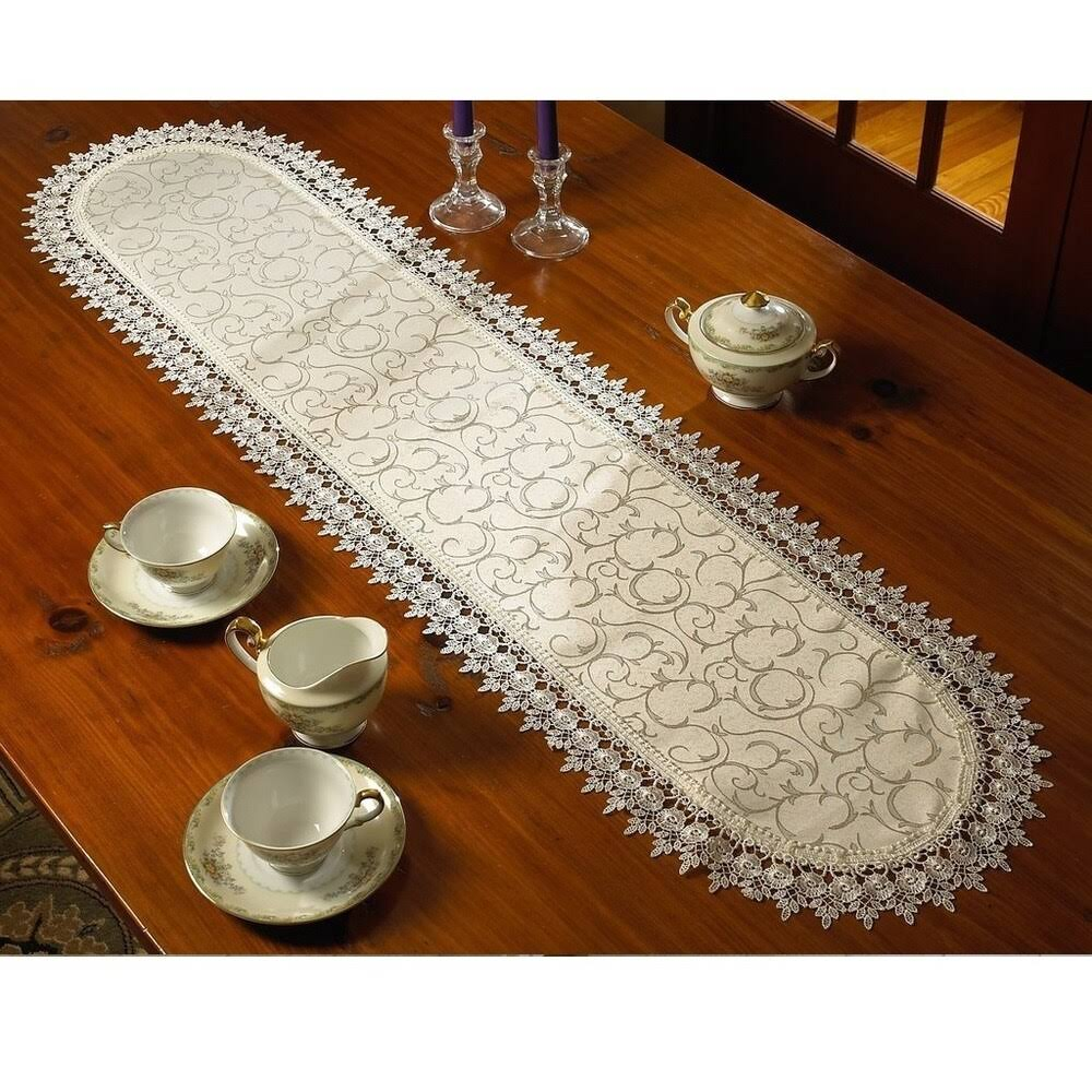 Violet Linen Flower Bow Embroidered Lace Vintage Design Table Runner, White 14x36