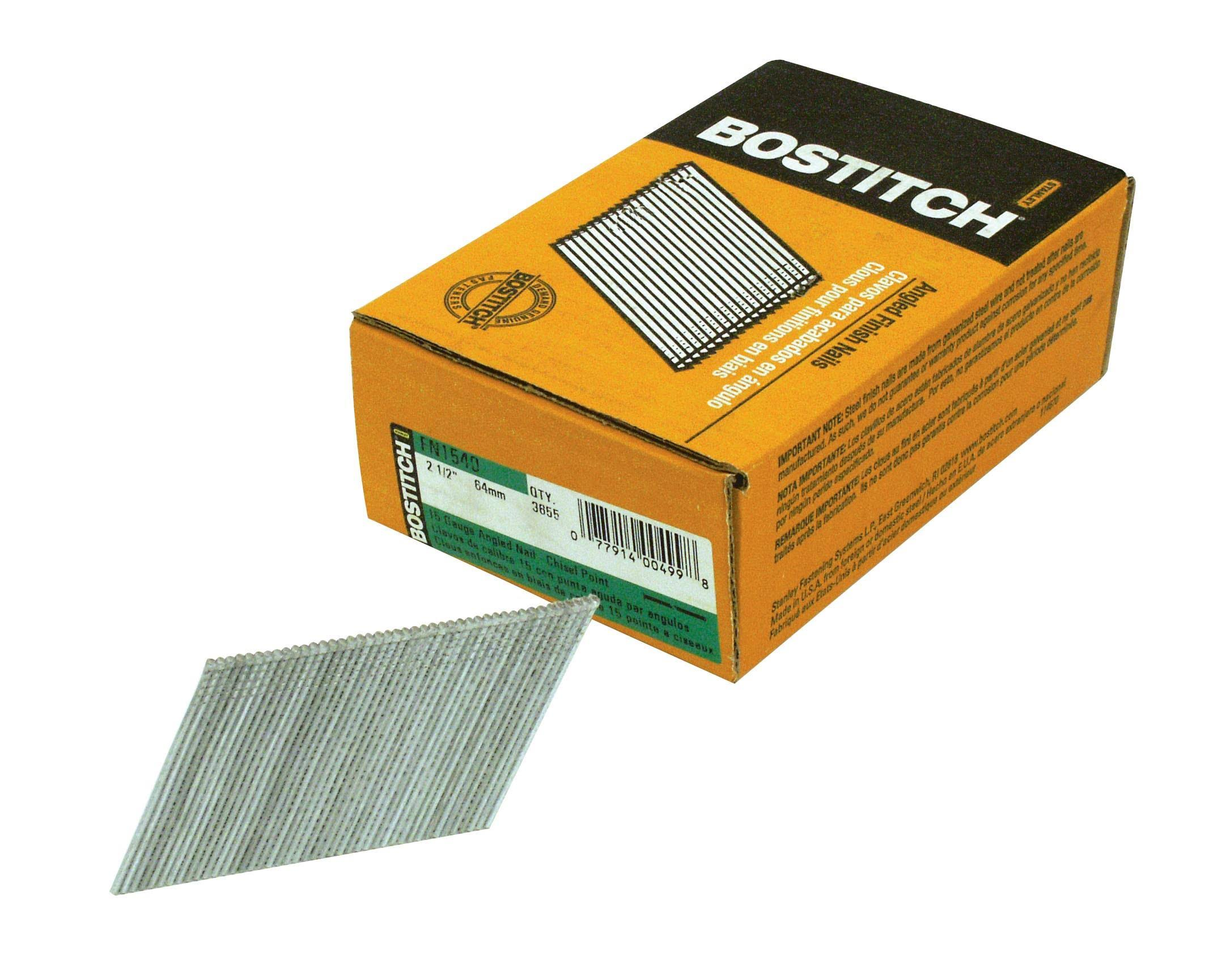 "Bostitch Fn1540 Angled Finish Nail - 2-1/2"" x 15 Gauge x 33-35 Degrees, x3655"