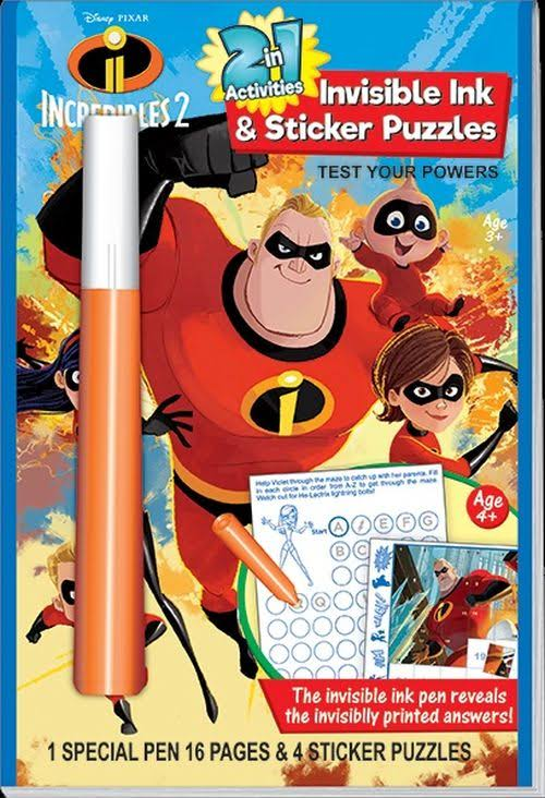 Disney Incredibles 2 Inv. Ink W Stickers / Lee Publications