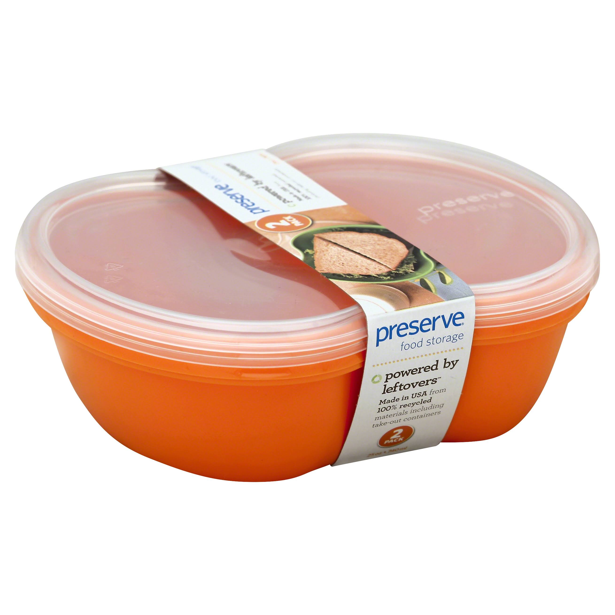 Preserve Square Food Storage Container Made from Recycled Plastic - Orange, 740ml, 2pk