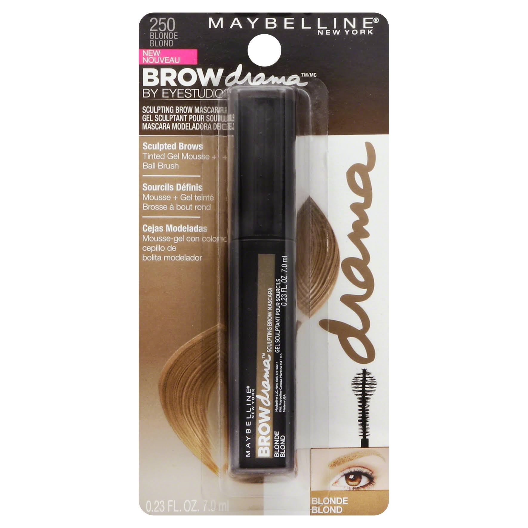 Maybelline Eye Studio Brow Drama Sculpting Mascara - Blonde 250, 0.23oz