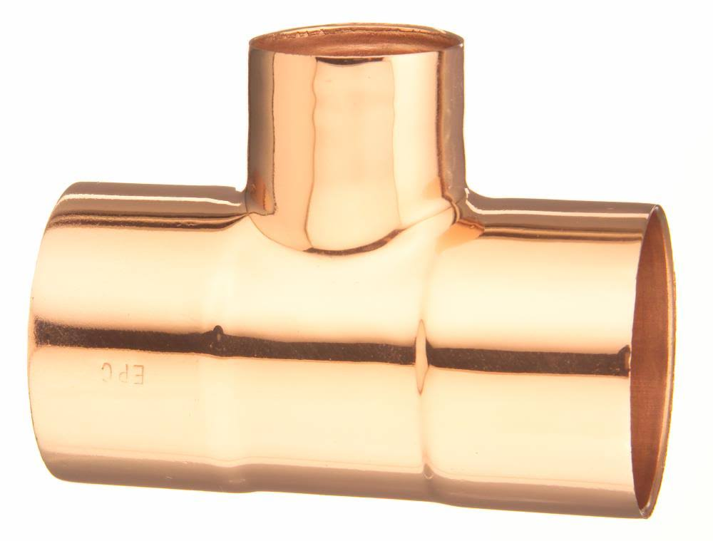 "Elkhart 32704 Copper Tee, 1/2"" X 1/2"" X 3/4"""