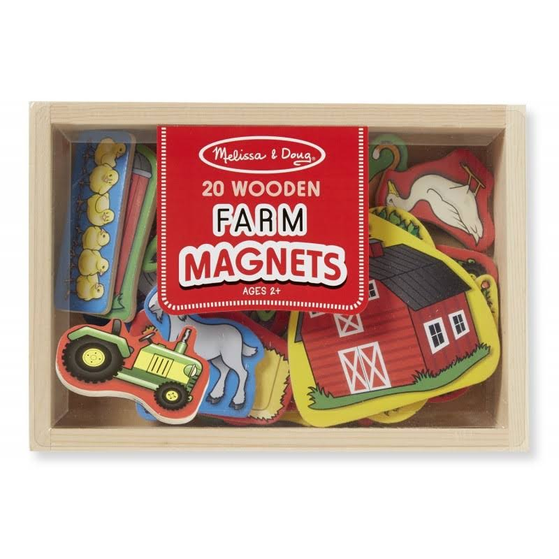 Melissa & Doug Wooden Farm Magnets - 20 Wooden Farm Magnets