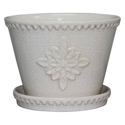 Southern Patio Lorna Ceramic Pot - Pearl White, 12""