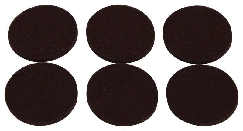 "Mintcraft Light Duty Felt Pads - 1-3/8"", Brown, 6 Pieces"