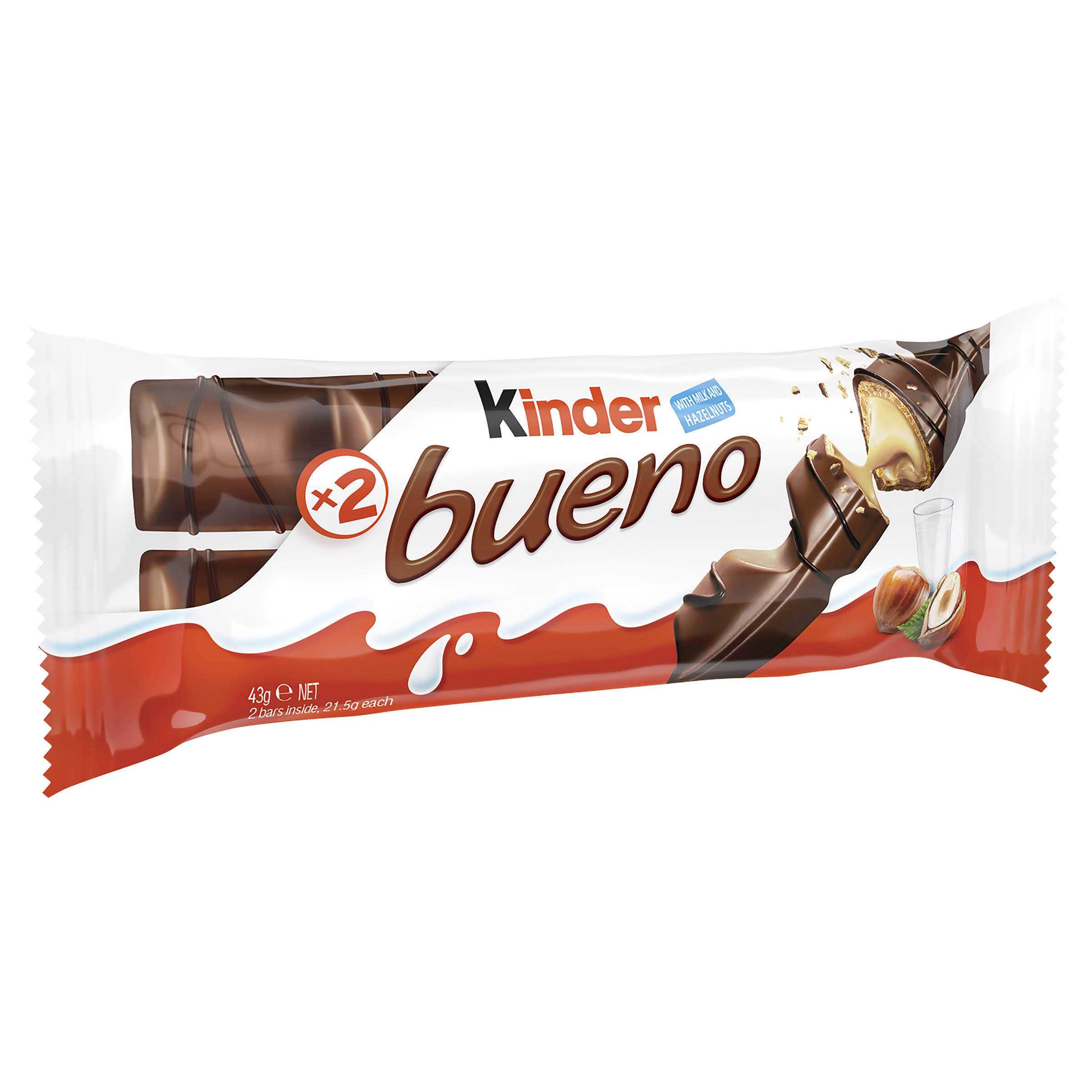 Kinder Bueno Milk Chocolate and Hazelnuts Single Chocolate Bar - 2 Finger x 21.5g, 43g