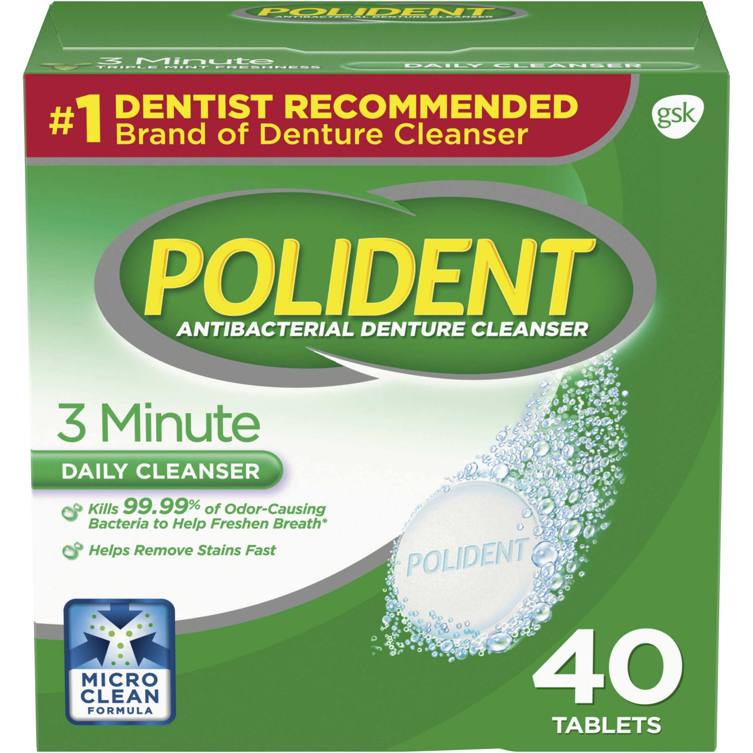 Polident Antibacterial Denture Cleaner - 40 Tablets