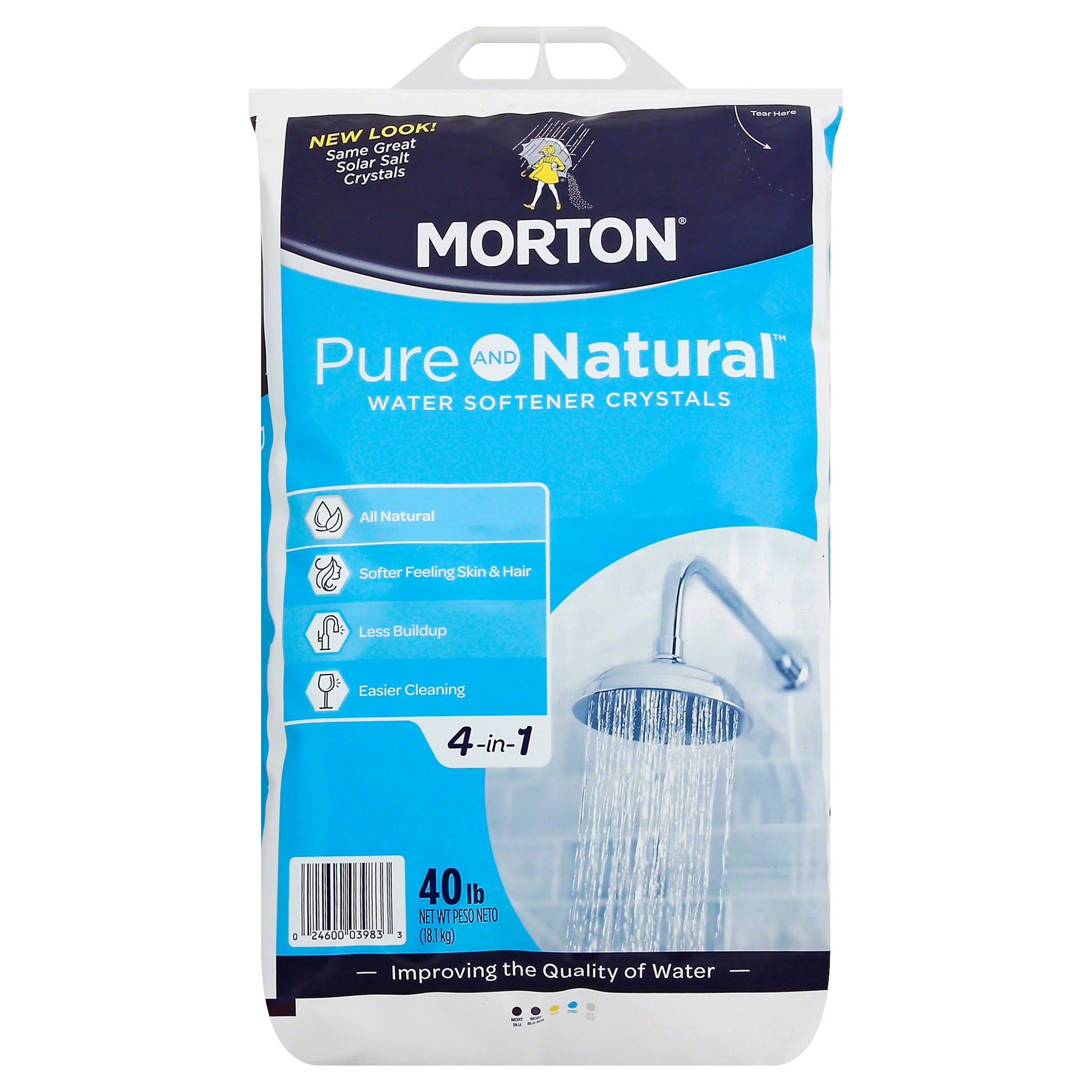 Morton U26624S Solar Salt Water Softening Crystals - 40lb, All Natural