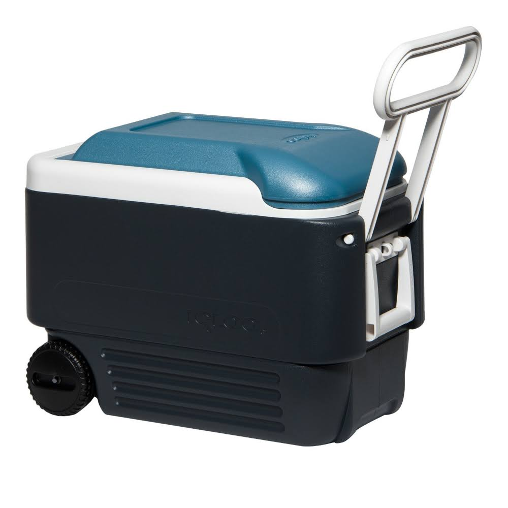 "Igloo MaxCold Roller Cooler - Jet Carbon, Ice Blue and White, 40qt, 23"" x 12.88"""