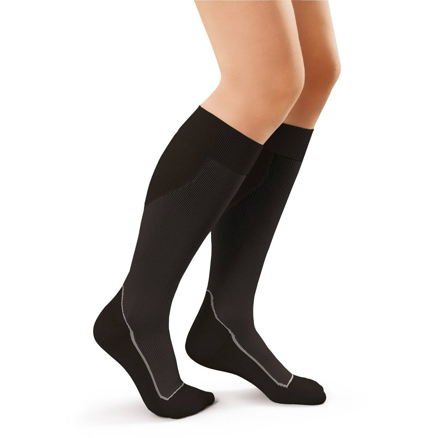 Jobst Sport 20-30 mmHg Knee High Socks Small / Cool Black/Black