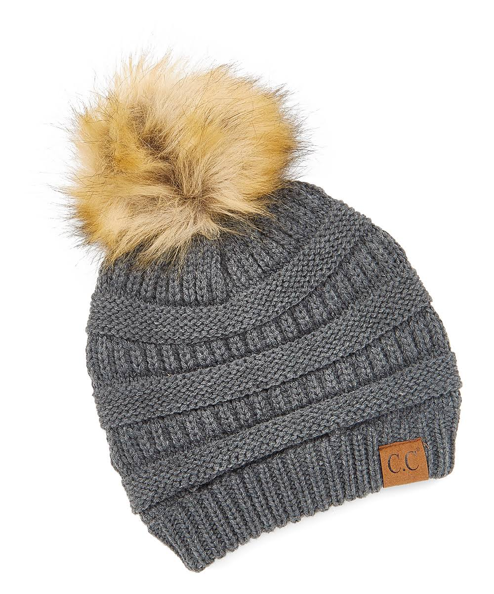 C.C Women's Beanie with Faux Fur Pom Dark Melange
