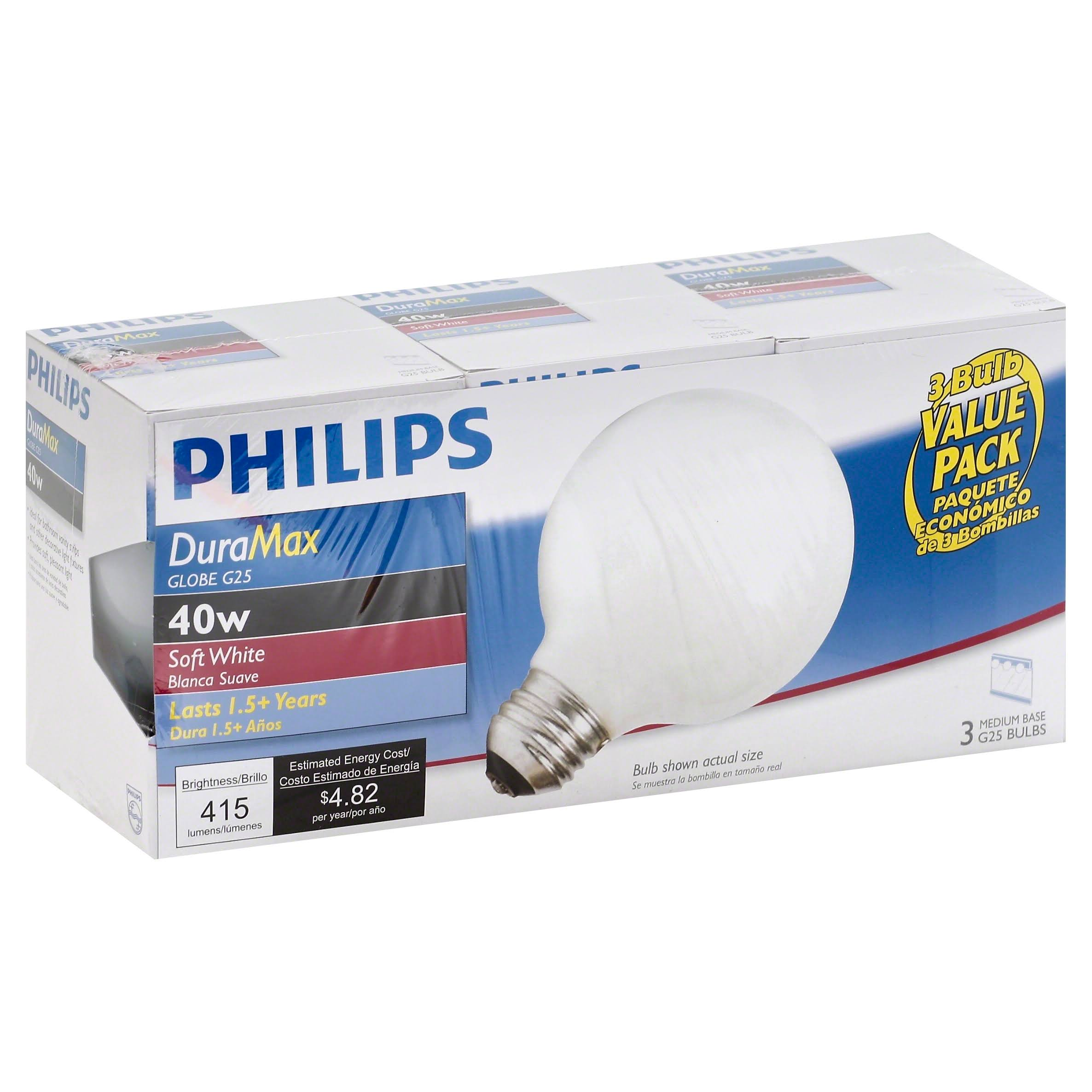 Philips 169045 G25 Decorative Medium Base Globe Light Bulb - White, 40w, x3