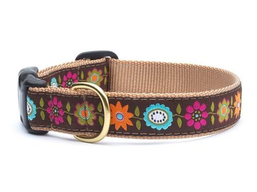 Bella Floral Dog Collar by Up Country - Small - Wide 1""