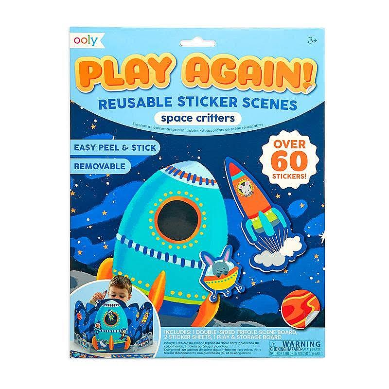 OOLY, Play Again! Reusable Sticker Scenes: Space Critters