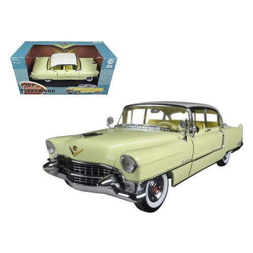 Greenlight 1955 Cadillac Fleetwood Series 60 Yellow with White Roof 1/18 Diecast Model Car