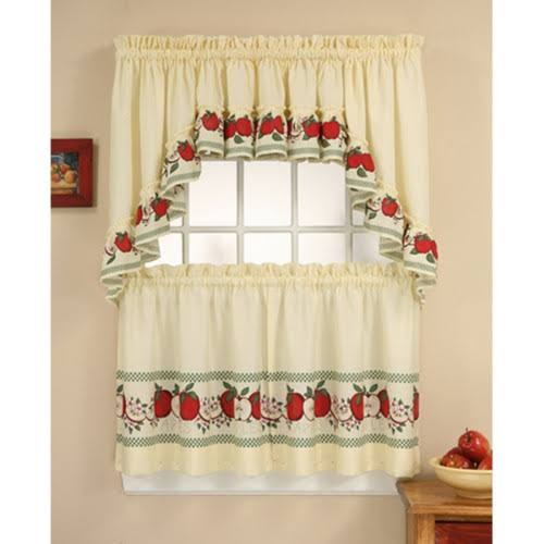 CHF & You Red Delicious Kitchen Curtain, Beige/Red - 2 count