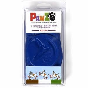 "Pawz Natural Rubber Dog Boots, Blue, M , 3"" - 12 pack"