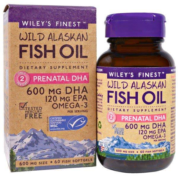 Wiley's Finest Wild Alaskan Fish Oil Omega 3 Supplement - 600mg, x60