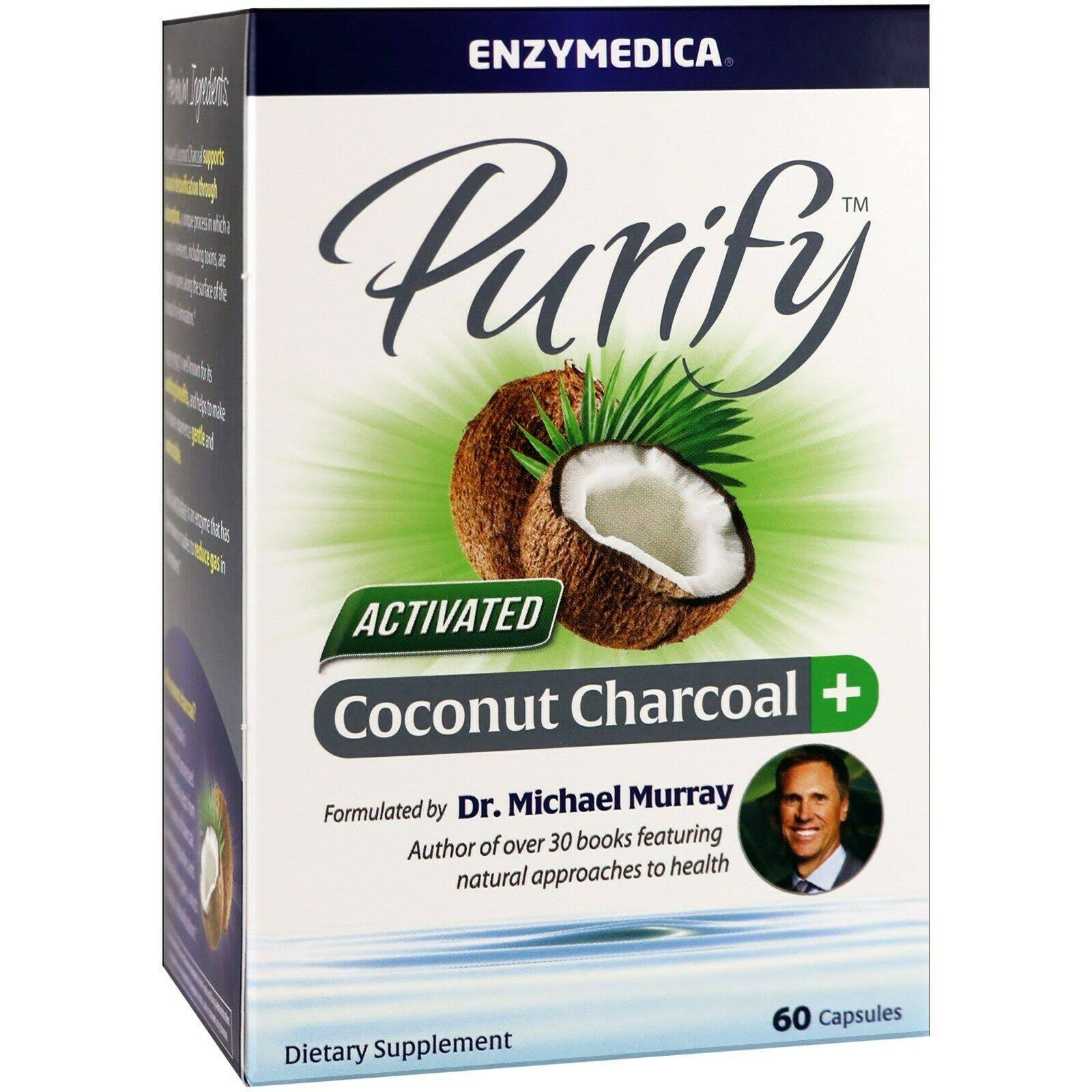 Enzymedica Purify Activated Coconut Charcoal 60 Capsules