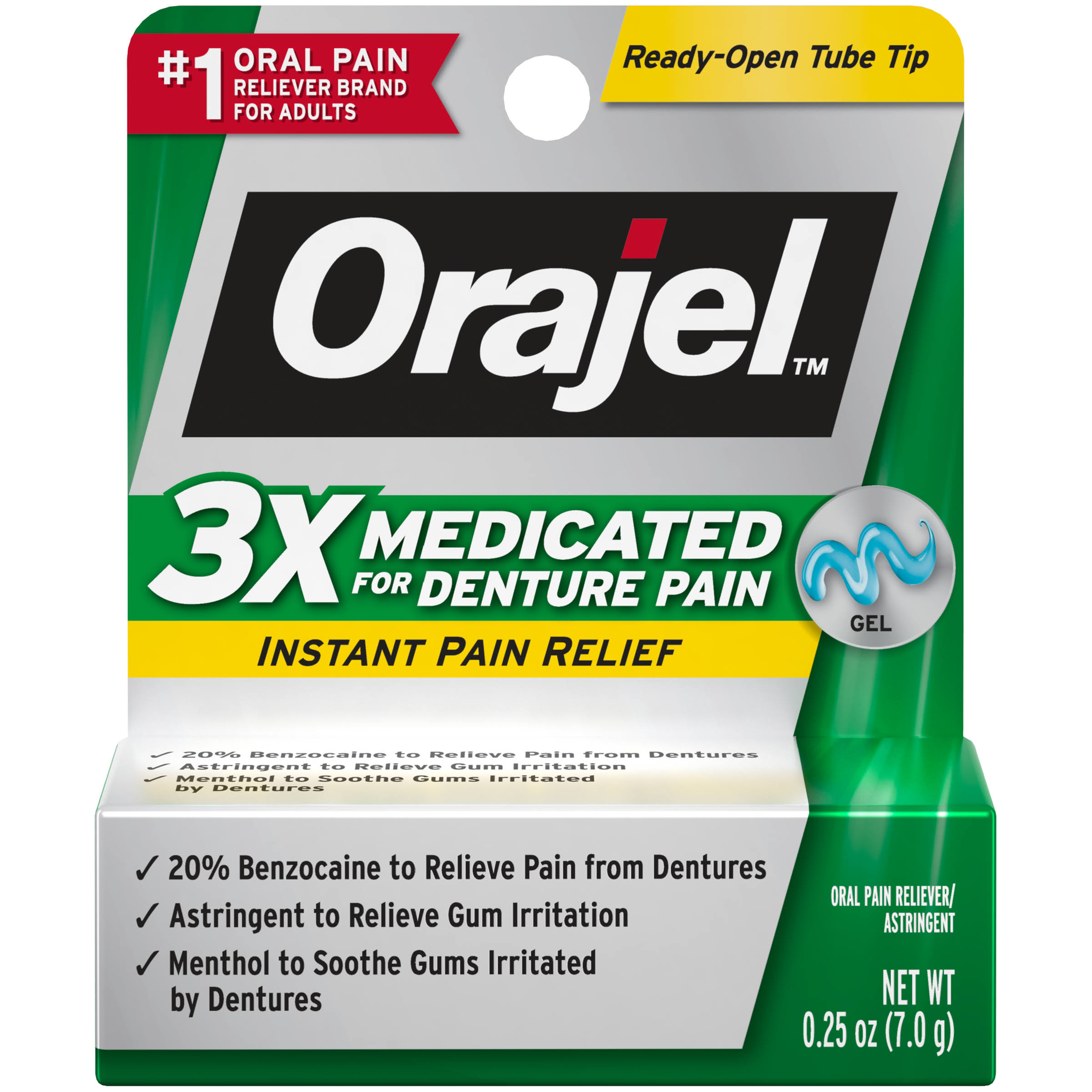 Orajel Instant Relief for Denture Pain - Mint Flavor, 0.25oz